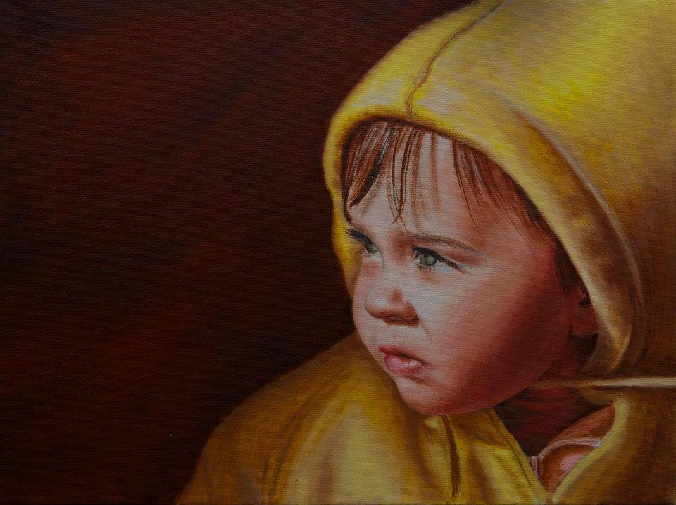 Gyermek olajportré fénykép alapján